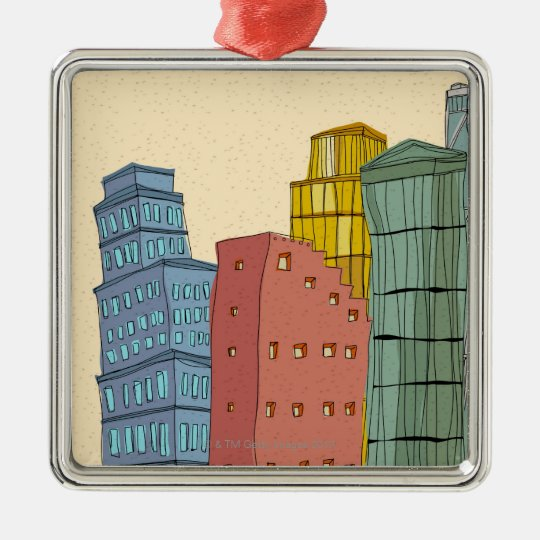 Clear Buildings Metal Ornament