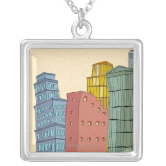 Clear Buildings Silver Plated Necklace