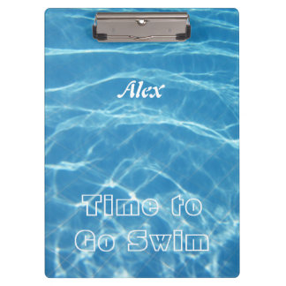 Clear Cool Blue Aquatic Pool Water Hearts Swimming Clipboard
