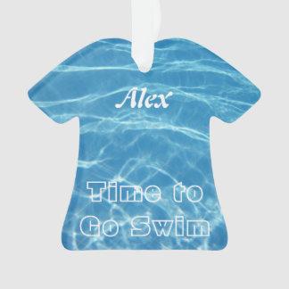 Clear Cool Blue Aquatic Pool Water Hearts Swimming Ornament