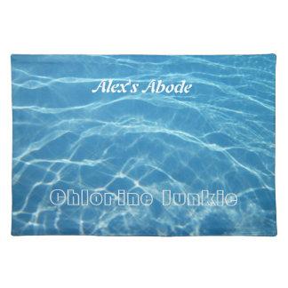 Clear Cool Blue Aquatic Pool Water Swimming Cloth Place Mat