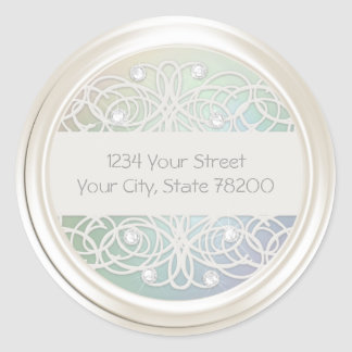 Clear Crystal and Pearl Damask Return Address Sticker