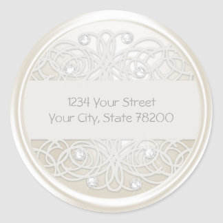 Clear Crystal and Pearl Lace Return Address Classic Round Sticker
