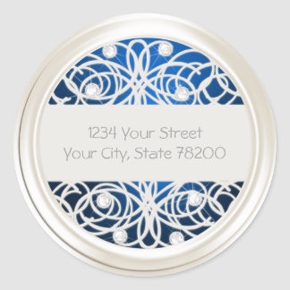 Clear Crystal and Pearl Lace Return Address Round Stickers