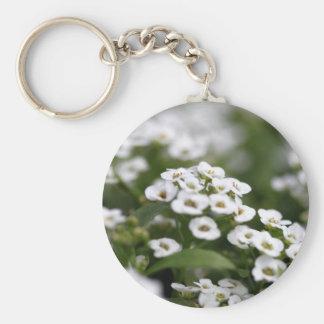 clear crystal white alyssum basic round button keychain