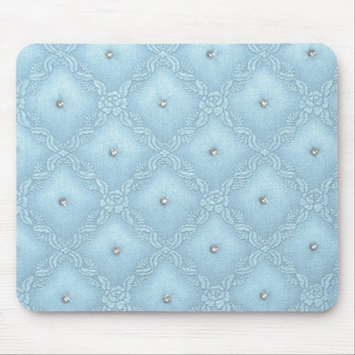 Clear Crystals on Quilted Blue Background Mouse Pad