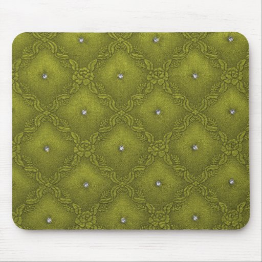 Clear Crystals on Quilted  Lime Background Mouse Pad