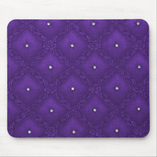 Clear Crystals on Quilted Purple Background Mouse Pad