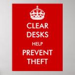 Clear Desks Help Prevent Theft Poster