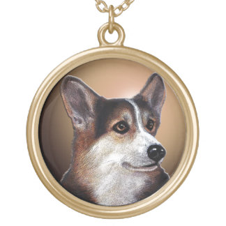 Clear-Eyed Corgi Gold Plated Necklace