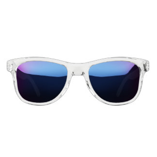 clear frame shades with blue mirror lens