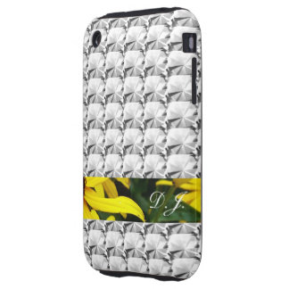 clear gem stone, diamond with flowering strip tough iPhone 3 case