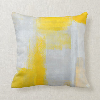 'Clear' Grey and Yellow Abstract Art Pillow