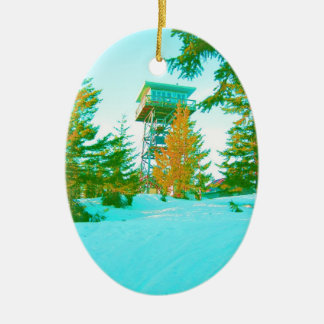 Clear Lake Butte Fire Lookout Ceramic Ornament