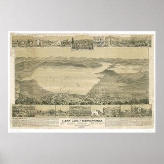 Clear Lake CA Panoramic Map 0289A Print