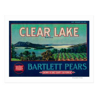Clear Lake Pear Crate LabelLake County CA Postcard