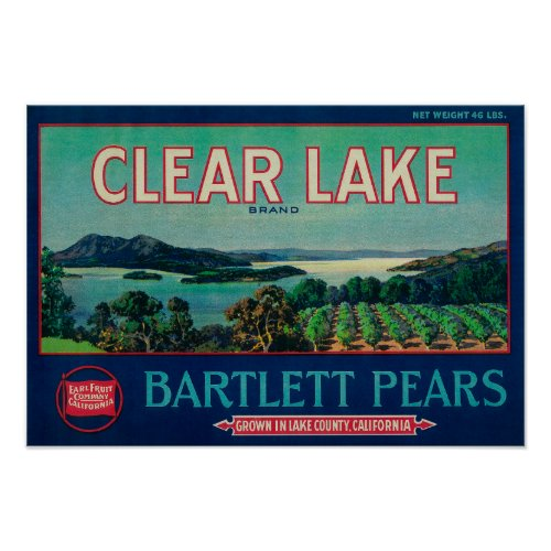 Clear Lake Pear Crate LabelLake County, CA