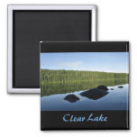 Clear Lake Reflections 2 Inch Square Magnet