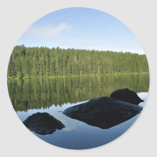 Clear Lake Reflections Round Sticker