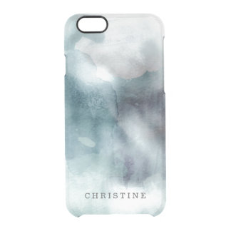Clear monogram name watercolor hipster blue nautic clear iPhone 6/6S case