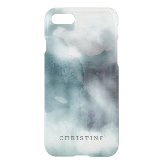 Clear monogram name watercolor hipster blue nautic iPhone 7 case