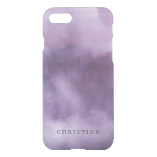 Clear monogram name watercolor hipster purple lila iPhone 7 case