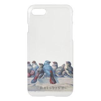 Clear monogram name watercolor vintage blue birds iPhone 7 case