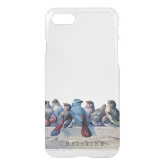 Clear monogram name watercolor vintage blue birds iPhone 8/7 case