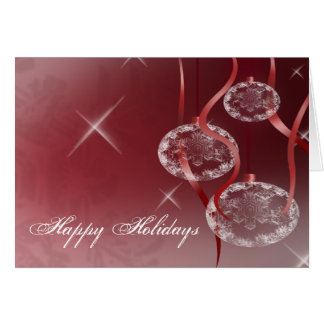 Clear Ornaments and Ribbon Holiday Card