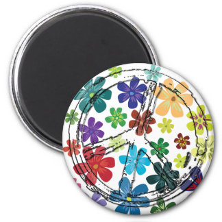CLEAR PEACE SIGN WITH FLOWERS 2 INCH ROUND MAGNET