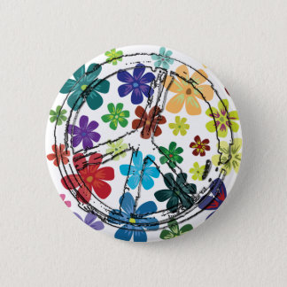 CLEAR PEACE SIGN WITH FLOWERS BUTTON