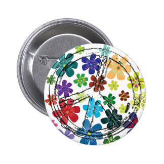 CLEAR PEACE SIGN WITH FLOWERS 2 INCH ROUND BUTTON