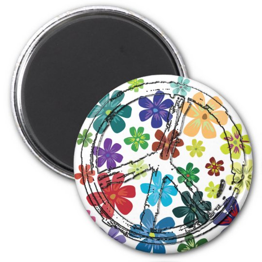 CLEAR PEACE SIGN WITH FLOWERS MAGNET