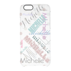 Clear Polka Dot With Name Clear Iphone 6/6s Case at Zazzle