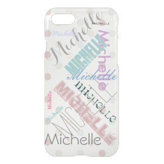 Clear Polka Dot with Name iPhone 7 Case