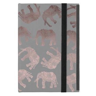 clear rose gold foil tribal elephant pattern iPad mini cover