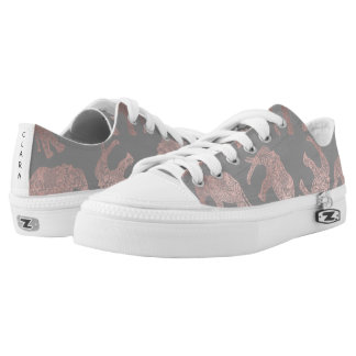 clear rose gold foil tribal elephant pattern Low-Top sneakers