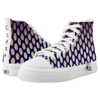 clear rose gold navy blue foil polka dots pattern High-Top sneakers