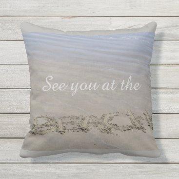 Beach Themed Clear sandy beach throw pillow
