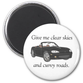 Clear Skies & Curvy Roads- black Fridge Magnets