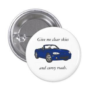 Clear Skies & Curvy Roads-Blue Button