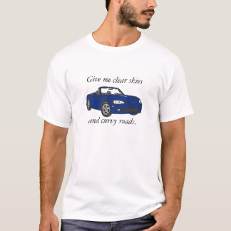 Clear Skies & Curvy Roads-Blue Large T-Shirt