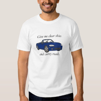 Clear Skies & Curvy Roads-Blue Large Tee Shirt