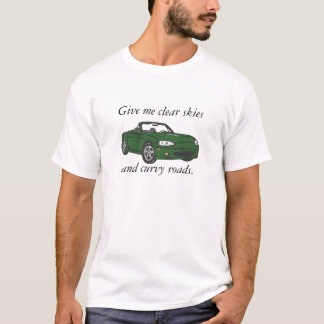 Clear Skies & Curvy Roads-Green Large T-Shirt