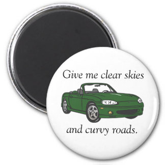 Clear Skies & Curvy Roads- Green Refrigerator Magnet