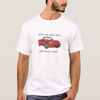 Clear Skies & Curvy Roads-Red  Large T-Shirt