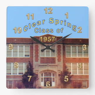 Clear Spring School Class of 1957 for Bertha Square Wall Clock