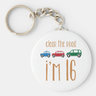 Clear The Road I'm 16 Basic Round Button Keychain