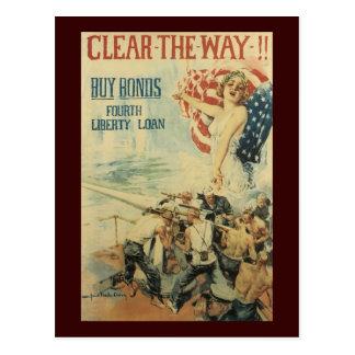 Clear The Way World War II Postcard