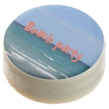 Beach Themed Clear turquoise beach chocolate dipped oreo